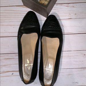Ralph Lauren Black Leather Flats 7 1/2
